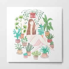 Watercolor girl among plants Metal Print