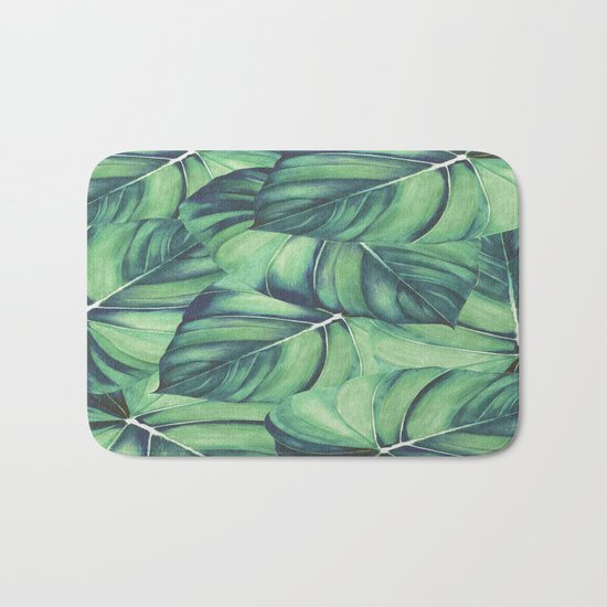 Palm Leaf Print Bath Mat