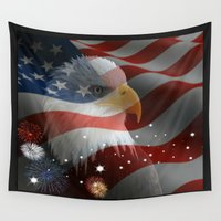 america Wall Tapestries featuring Patriotic America by Barrier _S_D