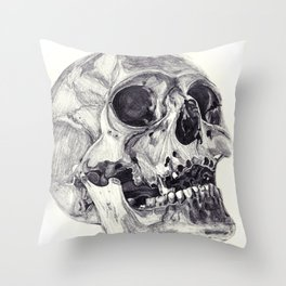 Skull pencil drawing Throw Pillow