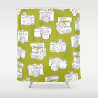 cheese Shower Curtains featuring Say Cheese by Steve Haskamp