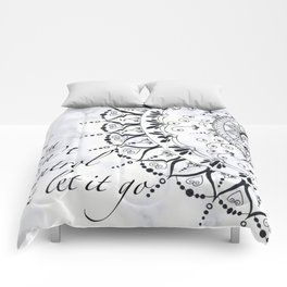 'If You Can't Control it Let it Go' Quote Mandala Marble Comforters