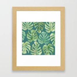 Jungle leaves Monstera leaves Palm leaves Tropical Framed Art Print
