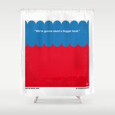 No046 My Jaws minimal movie poster Shower Curtain