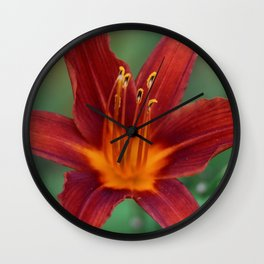 Red Lily Wall Clock