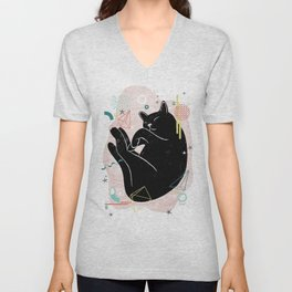 Dreaming kitten illustration Unisex V-Neck