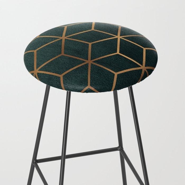 Dark Teal and Gold - Geometric Textured Gradient Cube Design Bar Stool