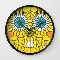 spongebob Wall Clocks featuring Spongebob Voronoi by Enrique Valles