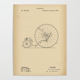 1887 Patent Velocipede wheel Bicycle archive history invention Poster