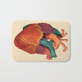 Anatomical Human Heart - Textbook Color Bath Mat