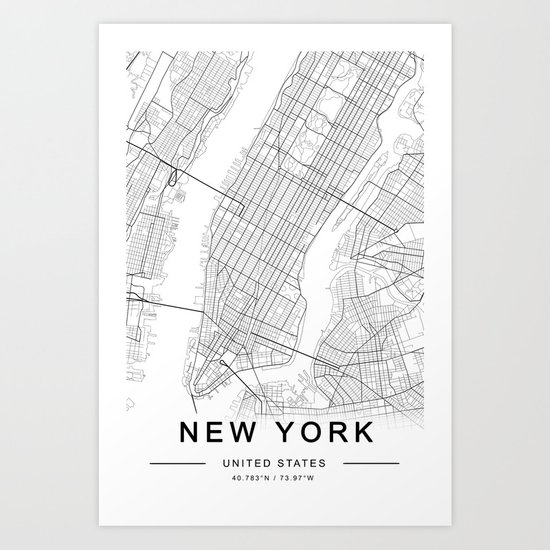 New York Map, Manhattan, USA City Map by prints_miuus_studio