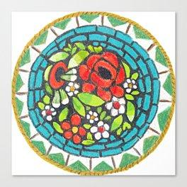 Floral Mosaic Brooch Canvas Print