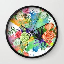 Pastel Pink, Peach & Rose Watercolor Floral Print Wall Clock