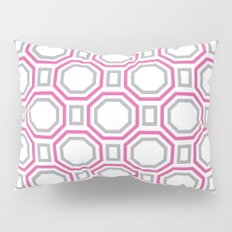 polygonal pattern - coral pink and gray Pillow Sham