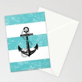 Vintage anchor beach background Stationery Cards