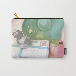 Sun-Bathing Hippo Vintage Still Life Carry-All Pouch