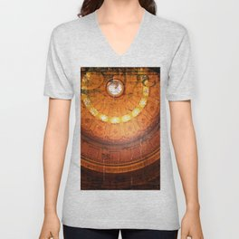 Rustic glowing retro vintage Steampunk Dome Unisex V-Neck