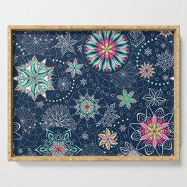Circle Mandalas - kaleidoscope geometric circle patterns Serving Tray