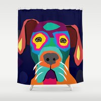 dog Shower Curtains featuring dog by ron ashkenazi
