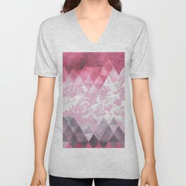 Abstract pink gray watercolor floral triangles Unisex V-Neck