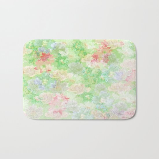 Mint Green Spring Floral Abstract Bath Mat