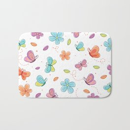 Colorful Butterflies And Flowers Pattern Bath Mat