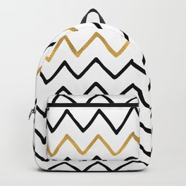 Writing Exercise- Simple Zig Zag Pattern - Black on White Gold - Mix & Match Backpack