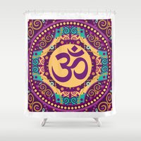 ohm Shower Curtains featuring Ohm Decorative Print in Purple Gold and Teal by MY  HOME