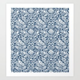 William Morris Navy Bunny & Pheasant Pattern Art Print