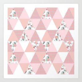 Quilt quilter cheater quilt pattern florals pink and white minimal modern nursery art Art Print