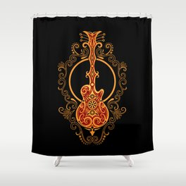 Intricate Red and Yellow Electric Guitar Design Shower Curtain