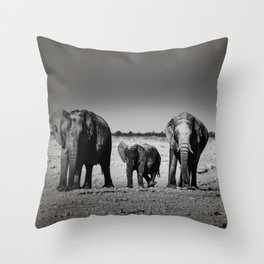 Two Females and a Baby Elephant Throw Pillow