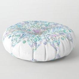 Mermaid Dreams Mandala on White Floor Pillow