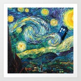 Tardis Art Starry Painting Night Art Print