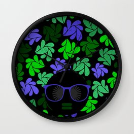 Afro Diva : Indigo Blue & Green Wall Clock