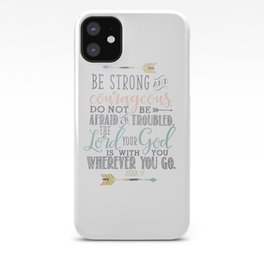 Joshua 1:9 Christian Bible Verse Typography Design iPhone Case