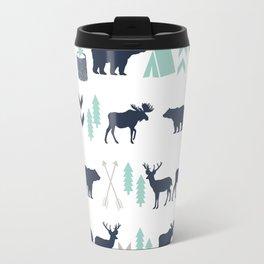 Camper pattern minimal nursery basic grey navy mint white camping cabin chalet decor Travel Mug