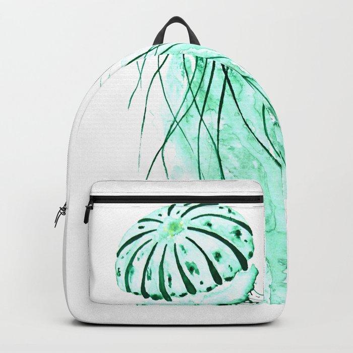 green jellyfish watercolor Backpack