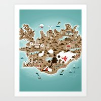 iceland Art Prints featuring Iceland by Steebz