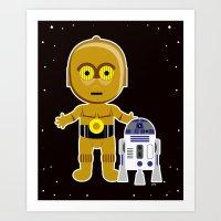 c3po Art Prints featuring C3PO by Jasmine Victoria