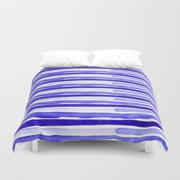 Ultra Violet Watercolour Stripes Duvet Cover