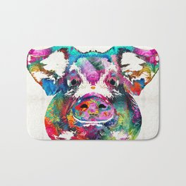 Colorful Pig Art - Squeal Appeal - By Sharon Cummings Bath Mat