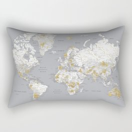 Detailed marble world map in gold and grey Rectangular Pillow