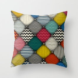 buttoned patches Throw Pillow