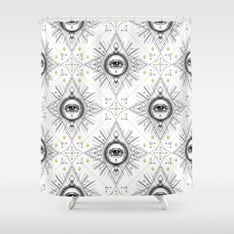 Sacred geometry seamless pattern with all seeing eye over white. Shower Curtain