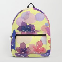 Watercolor Flowers and Bubbles Pale Yellow and Purple Backpack