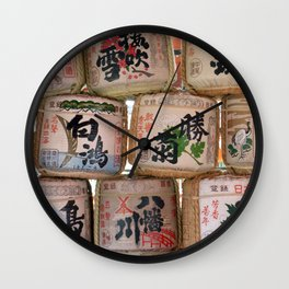 Sake barrels at shrine Wall Clock