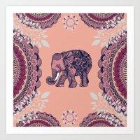 bohemian Art Prints featuring Bohemian Elephant  by rskinner1122