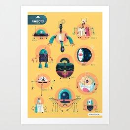 :::Mini Robots::: Art Print