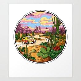 Hippie Van Cactus Desert Drive Art Print